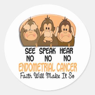 See Speak Hear No Endometrial Cancer 1 Round Stickers