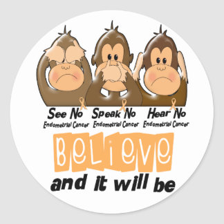 See Speak Hear No Endometrial Cancer 3 Stickers