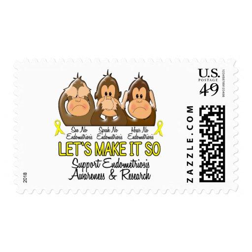 See Speak Hear No Endometriosis 2 Stamps