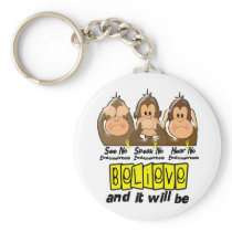 See Speak Hear No Endometriosis 3 Keychain