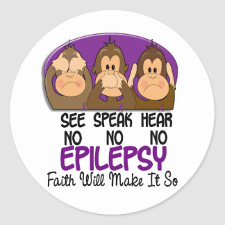 See Speak Hear No Epilepsy 1 Classic Round Sticker