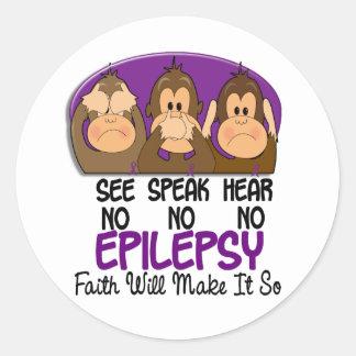 See Speak Hear No Epilepsy 1 Classic Round Sticker