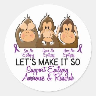 See Speak Hear No Epilepsy 2 Classic Round Sticker