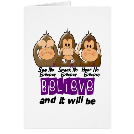 See Speak Hear No Epilepsy 3 Greeting Card