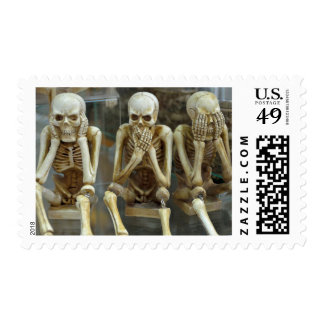 See, Speak, Hear No Evil Skeleton Stamp
