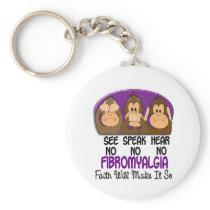 See Speak Hear No Fibromyalgia 1 Basic Round Button Keychain