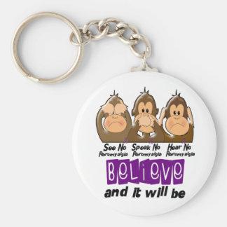 See Speak Hear No Fibromyalgia 3 Keychain
