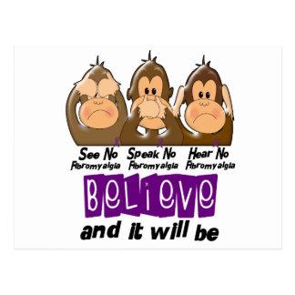 See Speak Hear No Fibromyalgia 3 Postcard