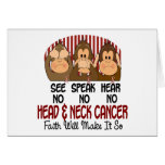 See Speak Hear No Head and Neck Cancer 1 Greeting Cards