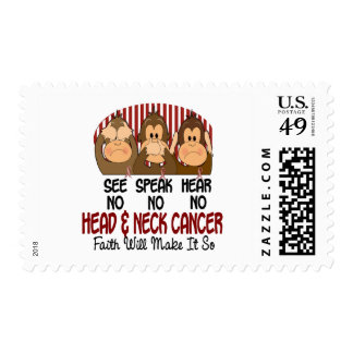 See Speak Hear No Head and Neck Cancer 1 Postage Stamps