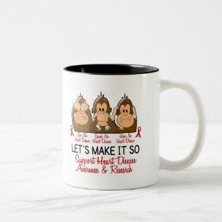 See Speak Hear No Heart Disease 2 Two-Tone Coffee Mug