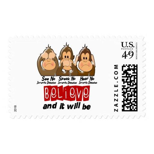 See Speak Hear No Juvenile Diabetes 3 Stamps