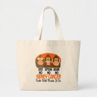 See Speak Hear No Kidney Cancer 1 Large Tote Bag