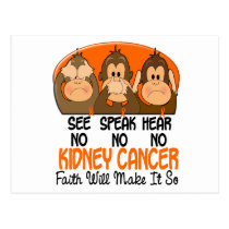 See Speak Hear No Kidney Cancer 1 Postcard