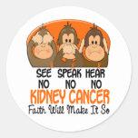 See Speak Hear No Kidney Cancer 1 Classic Round Sticker