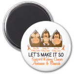 See Speak Hear No Kidney Cancer 2 Refrigerator Magnets