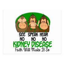 See Speak Hear No Kidney Disease 1 Postcard
