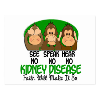 See Speak Hear No Kidney Disease 1 Postcard
