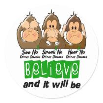 See Speak Hear No Kidney Disease 3 Classic Round Sticker