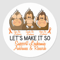 See Speak Hear No Leukemia 2 Classic Round Sticker