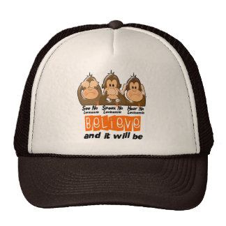 See Speak Hear No Leukemia 3 Trucker Hat