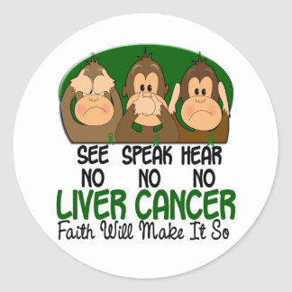 See Speak Hear No Liver Cancer 1 Classic Round Sticker