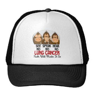 See Speak Hear No Lung Cancer 1 Trucker Hat