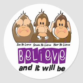 See Speak Hear No Lupus 3 Classic Round Sticker