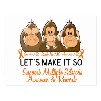 See Speak Hear No Multiple Sclerosis MS 2 Postcard