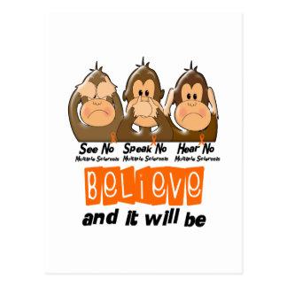 See Speak Hear No Multiple Sclerosis MS 3 Postcard
