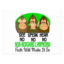 See Speak Hear No Non-Hodgkins Lymphoma 1 Postcard