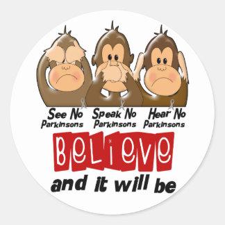 See Speak Hear No Parkinsons Disease 3 Classic Round Sticker