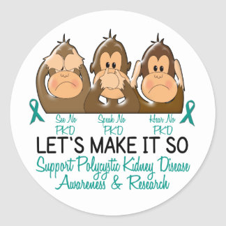 See Speak Hear No Polycystic Kidney Disease 2 Classic Round Sticker