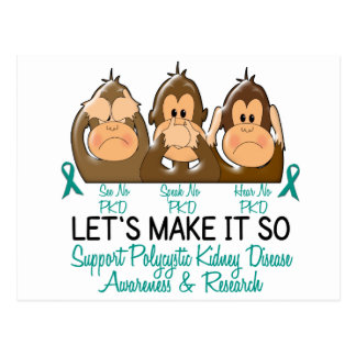 See Speak Hear No Polycystic Kidney Disease 2 Postcard