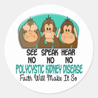 See Speak Hear No Polycystic Kidney Disease PKD 1 Classic Round Sticker
