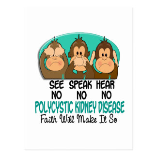 See Speak Hear No Polycystic Kidney Disease PKD 1 Postcard
