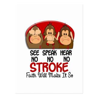 See Speak Hear No Stroke 1 Postcard