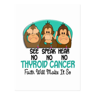 See Speak Hear No Thyroid Cancer 1 Postcard
