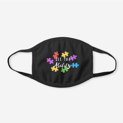 """See The Ability"" Autism Awareness Puzzle Black Cotton Face Mask"