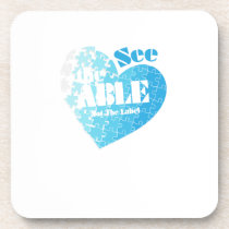 See the Able Not The Label Autism Awareness Gift Drink Coaster