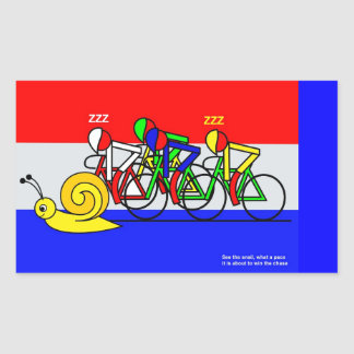 See the snail, what a pace rectangular sticker