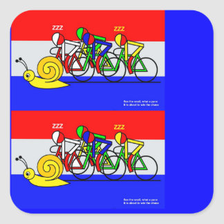 See the snail, what a pace square sticker
