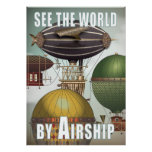 See the World Airship Race Steampunk Travel Poster