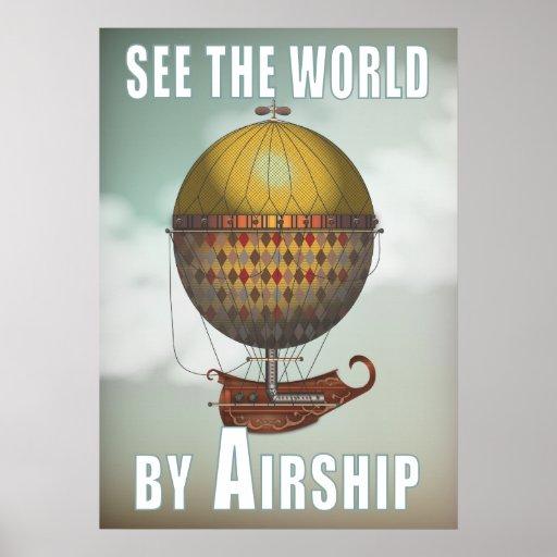 See the World by Airship Nautisme Steampunk Travel Print