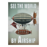 See the World by Airship | Steampunk Travel Poster