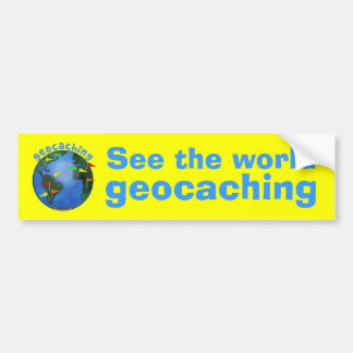 See the World Geocaching Earth with Flags Car Bumper Sticker