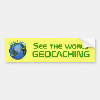 See the World Geocaching Yellow Space Font Earth Bumper Sticker