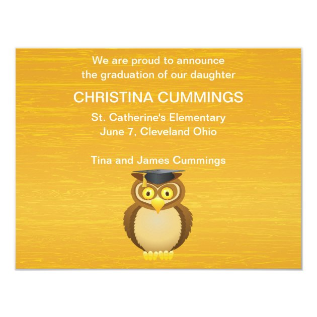 See Whooo Graduated Graduation Announcement (back side)