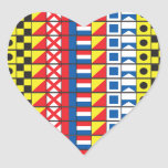 See Worthy_Signal Flags_I love to sail_heart-shape Stickers