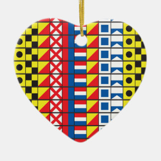 See Worthy_Signal Flags_I Love to Sail necklace Double-Sided Heart Ceramic Christmas Ornament